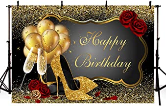 MEHOFOTO 8x6ft Photo Background Props Shiny Sequin Black Gold High Heels Champagne Adult Woman Red Rose Balloons Happy Birthday Party Banner Backdrops for Photography