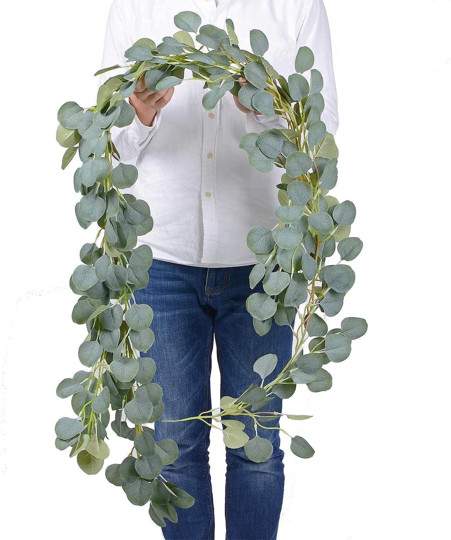 YQing 1Pc Guirnalda Eucalipto Artificial Guirnalda Hojas de Eucalipto Hojas Seda Falsa Ramas Eucalipto de Plástico, Planta Artificial para Jardín Decoración Boda Pared de Arco Telón de Fondo 182cm