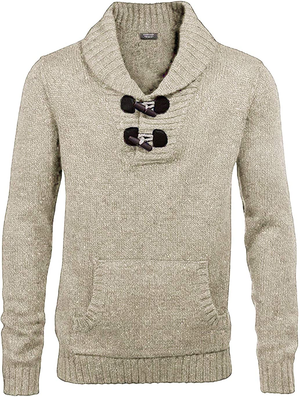 COOFANDY Direct sale of manufacturer Men's Shawl Collar Great interest Pullover Relaxed Fit Casual Sweater