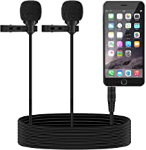 TONOR Dual Lavalier Microphone, Lapel Interview Mini Omnidirectional Condenser Shirt External Mic for iPhone, Android Smartphones, iPad, 55 inch, Black