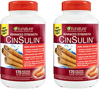 TruNature Advanced Strength CinSulin with Cinnamon Concentrate and Chromium Picolinate - 2 Bottles, 170 Capsules Each