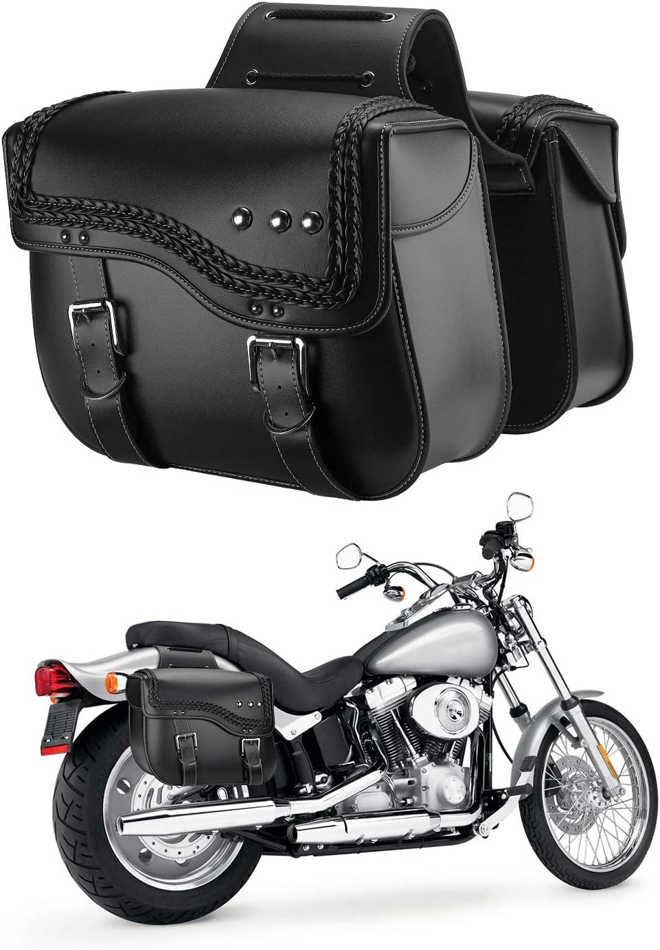 Motorcycle Saddlebags Synthetic Over item handling ☆ Finally resale start Leather Sportster for Bags Side
