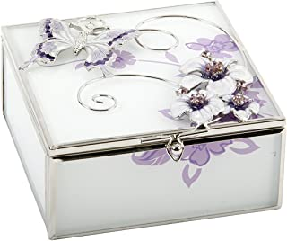 Oaktree Gifts Glass Square Trinket Box Purple Butterfly Flowers and Diamantes