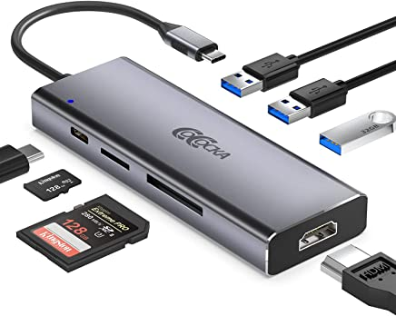 $32 » USB C Hub, COCOCKA 7-in-1 USB C Adapter with 4K USB C to HDMI, 3 USB 3.0 Ports, SD/TF Card Reader, 100W PD Charging Port, Compatible with MacBook Pro, ChromeBook, XPS and More Type C Laptops