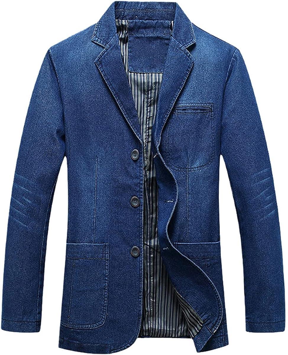 Men's Denim Blazer Fashion Pure Cotton Retro Blazer blazerue Jacket Denim Jacket