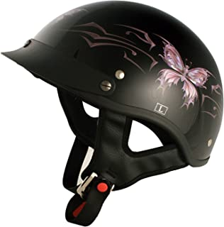 VCAN Cruiser Intricate Butterfly Motorcycle Half Helmet (Gloss Black, Small)