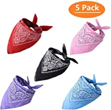 KOOLTAIL 5 Pack Dog Bandanas Paisley Pet Scarfs Cute Triangle Bibs for Medium and Large Dogs
