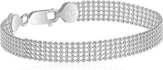 Sterling Silver Five-Row Shot Bead Chain Bracelet