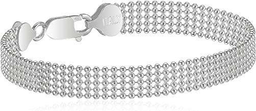 Sterling Silver Five-Row Shot Bead Chain Bracelet