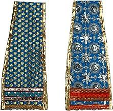 Blue Decorative Idol Cloth Dupatta Poshak Puja Chunari Pooja Chunar Set of 2(Size :-22 Inches x 4 Inches) Pooja Items Arti...
