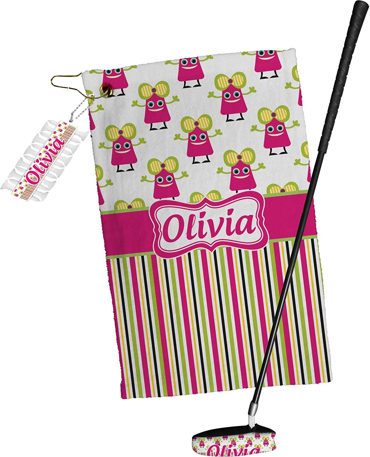 YouCustomizeIt Pink Japan Maker New Monsters Stripes Golf Towel Omaha Mall Set Pers Gift