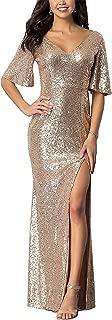 Women Sparkly Rose Gold Bridesmaid Dress V Neck Side Split Long Sequins Prom/Evening Gowns