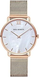 PAUL HEWITT Miss Ocean Pearl - Reloj de pulsera para mujer (oro rosa) con correa de piel y correa de acero inoxidable, esf...