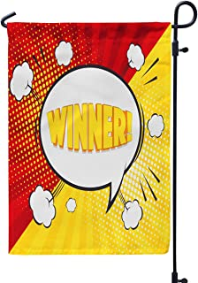 Soopat Game Quote Seasonal Flag, Winner Word Comic Starburst Funny Cartoon Speech Weatherproof Double Stitched Decorative Flags for Garden Yard 12 L x 18 W Welcome Garden Flag