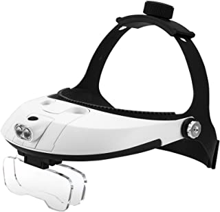 FiveJoy Handsfree Head Mount Magnifier with Detachable LED Head Lamp - 5 Lenses Included (1.0X - 3.5X) Clip on 2 Lens Toge...