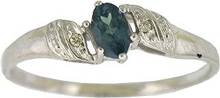 Natural Alexandrite Diamond Ring in 14 K White Gold