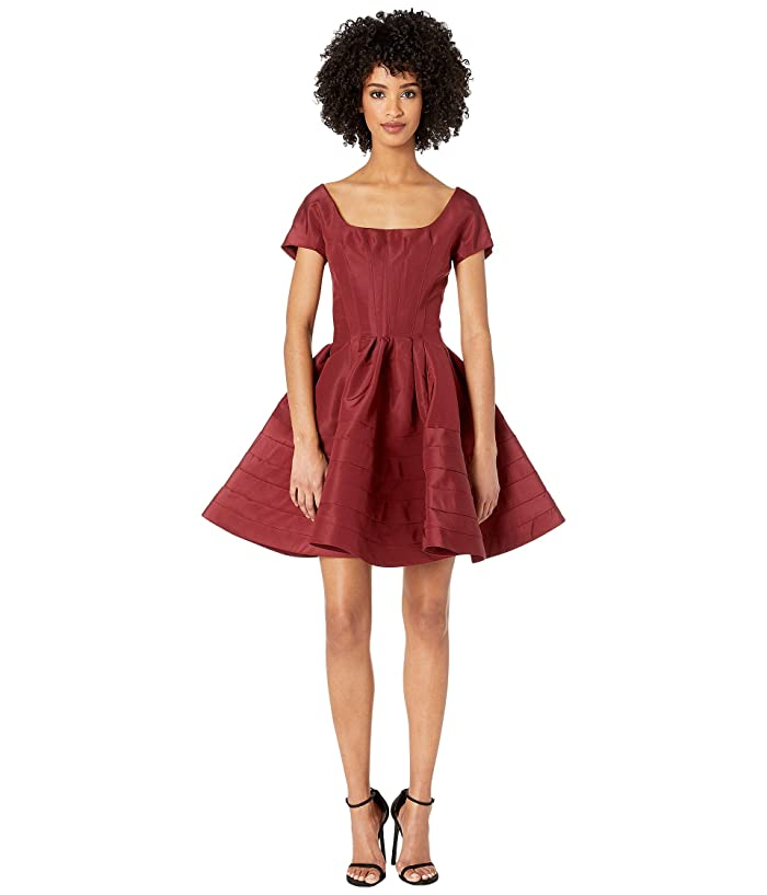 Zac Posen Short Sleeve Boat Neck Fit and Flare Dress (Burgundy) Women's Dress