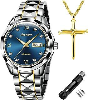 JSDUN Relojes mecánicos automáticos para hombres hombres zafiro acero tungsteno vestido reloj de pulsera de cara grande esfera grande impermeable con fecha día