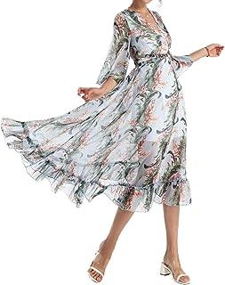 Beach Dresses Chiffon for Women Long Skirt Casual Bohemian Chiffon Beach Party Maxi Dress Blue