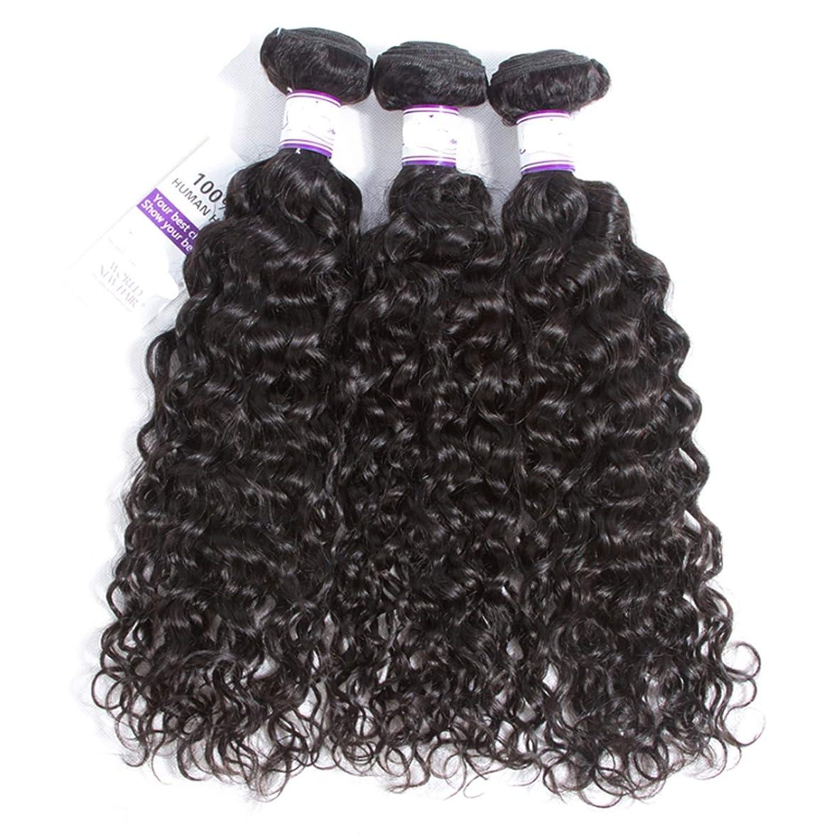 骨髄漂流モスヘアエクステンション マレーシアの水の波の髪3個ナチュラルブラック人間の髪の毛の束非レミーの毛延長8-28インチ (Length : 24 24 24)