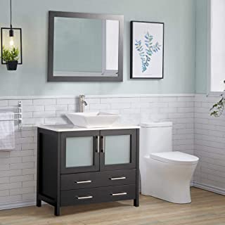 Vanity Art 36 inch Bathroom Vanity Set Single Quartz Sink Top with Free Square Mirror, 2 Drawer & Large Folding Door Drawer -Perfect Bathroom Organizer (Espresso) - VA3136
