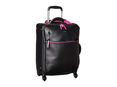 Lipault Paris Variation Spinner 55/20 Carry-On (Black/Sweet Fuchsia) Luggage