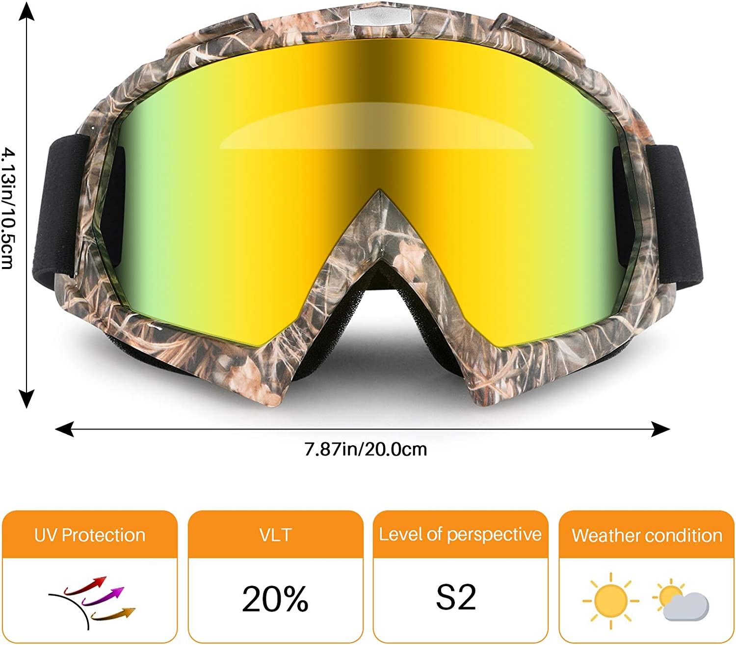 GGBuy Motorcycle Goggles ATV Dirt Bike Anti Scratch Motocross UV400 Protect Bendable Eyewear Off Road Dust Proof Anti Fog Riding Goggles with Adjustable Strap /&Color Lens