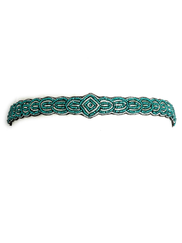 Bohomonde, Mae Silver Sparkly 1920's gatsby inspired beaded elastic headband (Teal)