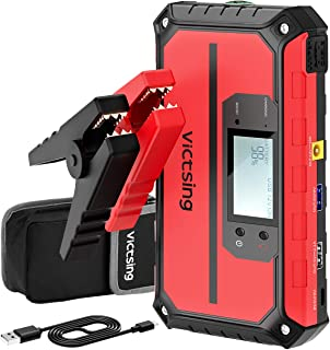 VicTsing 1000A Peak 20800mAh Portable Car Jump Starter (Up to 8.0L Gas, 6.0L Diesel Engine), 12V Auto Battery Booster, Compact Power Pack with QC3.0 Output, Built-in Compass and LED Light - Red