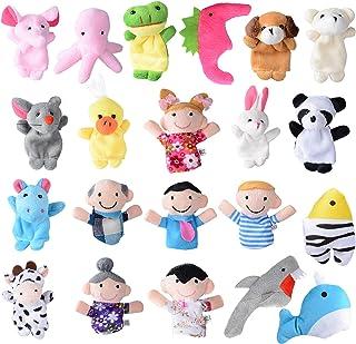 BETESSIN 21Pcs Marionnettes à Doigt Main Finger Puppets Set Cartoon Poupées Mignonnes Animaux Jouets en Peluche 15 Animaux...