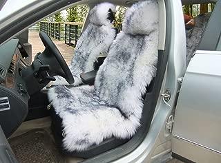 OKAYDA 1 Piece Australia Sheepskin Car Seat Covers Real Fur Car Interior Accessories Cushion Newest Winter Stylish Plush Car Seat Cover Gray Tips
