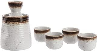 MyGift 6-Piece Cream White Ceramic Japanese Sake Set with Warmer