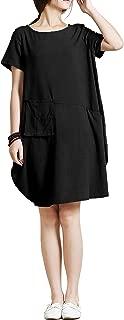 Spring Summer Soft Linen Cotton Lantern Loose Dress Plus Size Clothing Y18