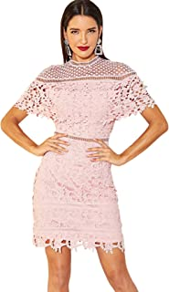 Floerns Women's Short Sleeve Mock Neck Lace Bodycon Cocktail Party Dress