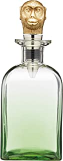 BarCraft BCMONKEYDEC Decanter with Brass Monkey Bottle Stopper, Glass, 900 ml, Green Monkey