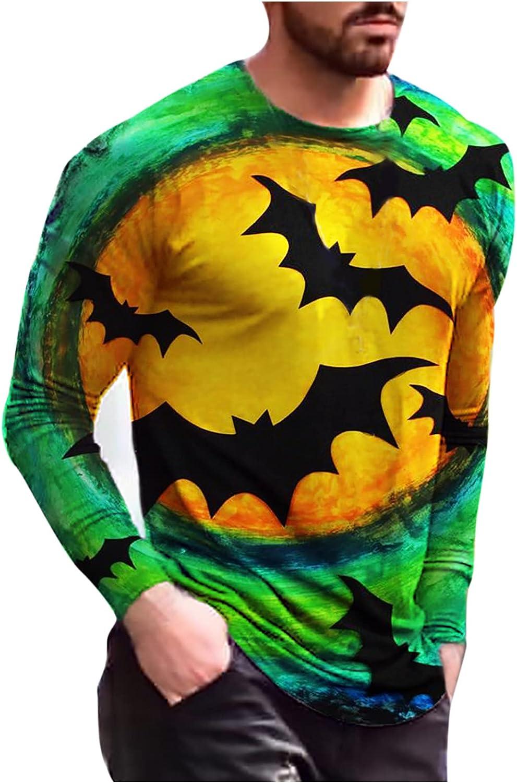 Halloween Men's Long Sleeve T-Shirt,Novelty Halloween Pumpkins S