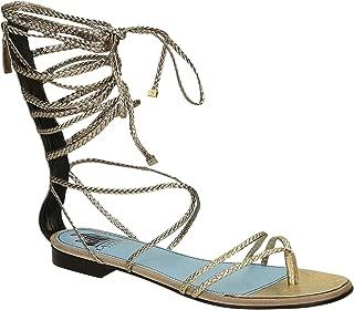 Women's Calf Leather Flat Sandals Shoes