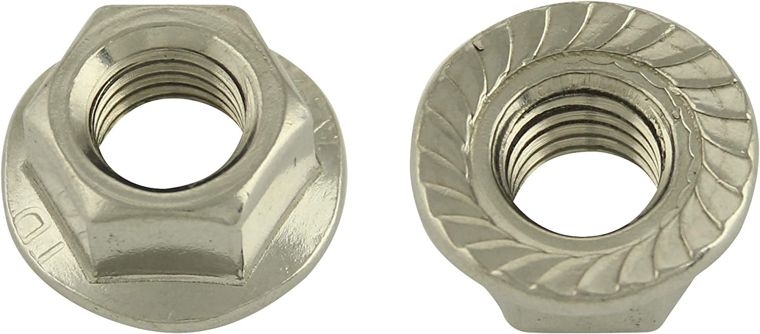 Hexagonal nuts with flange and Locking Teeth DIN 6923 Stainless Steel A2 Nuts