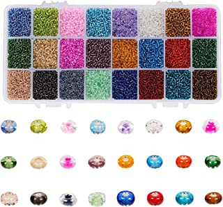 SAPU Multicolor Beading Glass Seed Beads Bulk- 38400PCS 2mm Beads Kit Small Tube Round Beads Assorted Kit Opaque Beads Sup...