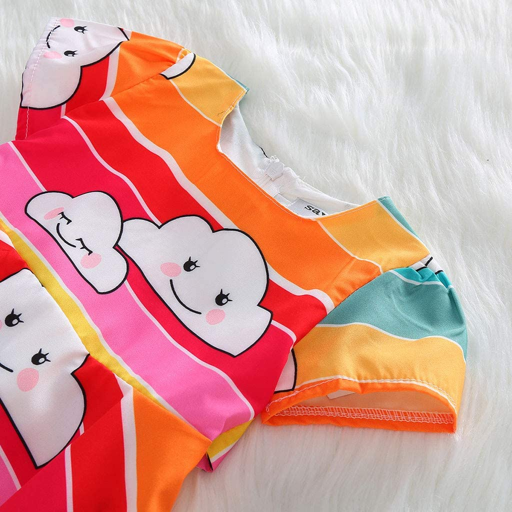 XshuaiRTE Baby Clothes Set,Woven CartoonFemale Baby Rainbow Cloud Printed Skirt for Girls Princess Dress