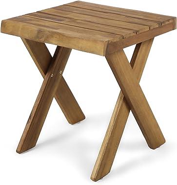 Christopher Knight Home Irene Outdoor Acacia Wood Side Table, Sandblast Teak Finish