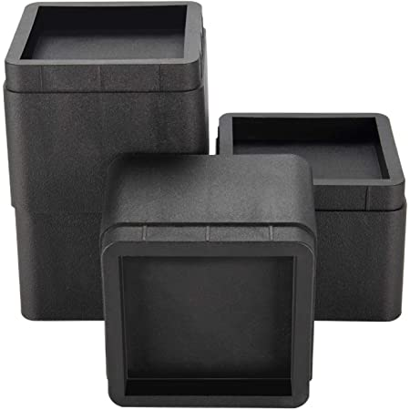 BTSD-home Bed Risers 3 or 6 Inch Heavy Duty Stackable Furniture Risers for Sofa Table Couch Chair Bed Raisers Blocks 4 Pack Black