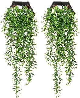 Hopter 2 plantas colgantes artificiales de ratán de plástico para pared de mimbre decorativo para pared, interior, exterio...