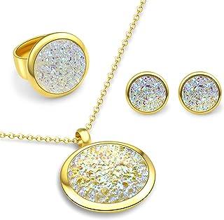 أطقم مجوهرات ATFOR للنساء قلائد وأقراط خواتم دائرية غير منتظمة كريستال مطلية بالذهب سلسلة رابط هدايا للسيدات المجوهرات