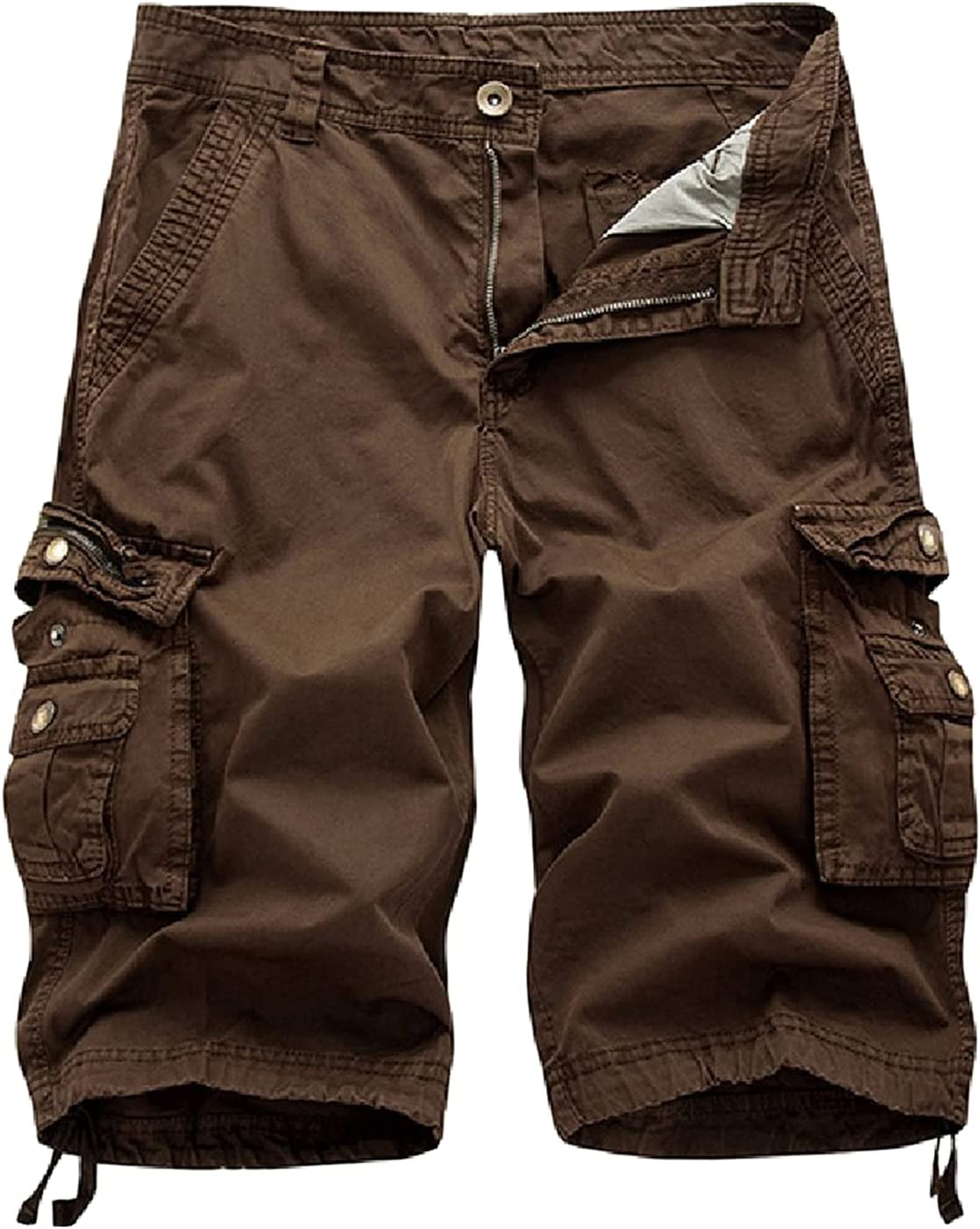 Outdoor Twill Cargo Shorts for Men Casual Summer Lightweight Outdoor Shorts Relaxed Fit Stretchy Multi-Pocket Shorts (Brown,32)