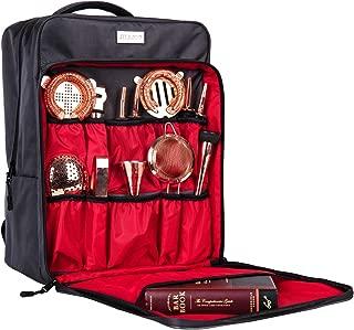 Professional Waterproof Bartender Travel Bag Bar Wine Carrier Set Bag for Travelling Camping-Grey(Bag only)