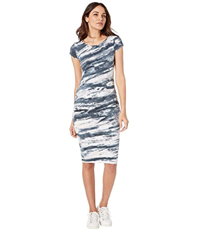Hard Tail Sexy Ruched Cap Sleeve Dress (Diagonal Space Wash #1) Women
