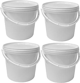 4x 5 Liter Kunststoffeimer Behälter Kübel mit Schnappverschlussdeckel und Henkel   Lebensmittelechter Kunststoff   Hergestellt in Deutschland   Stabil und Stapelbar   Fest Verschließbar   BPA Frei   WEISS