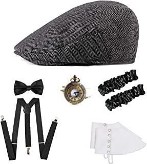 ICEVOG Mens 1920s Accessories Set Gatsby Gangster Costume Panama Manhattan Fedora Newsboy Cap Hat Suspenders Garters Spats