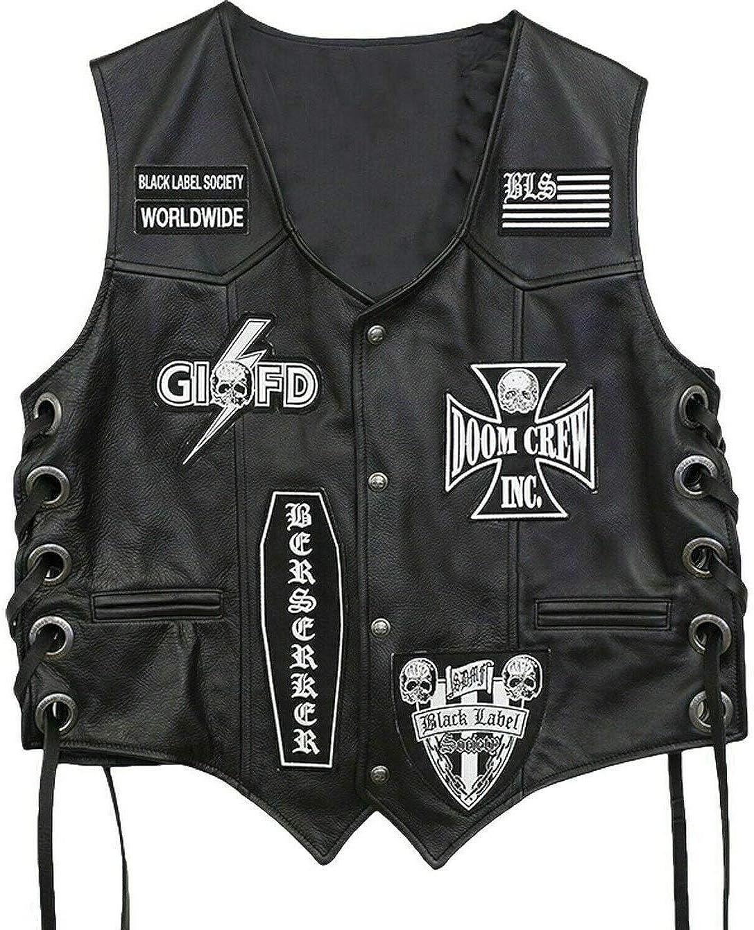 Black Label セール価格 Society Skull Real Leather 正規品スーパーSALE×店内全品キャンペーン Vest Biker